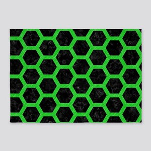 HEXAGON2 BLACK MARBLE & GREEN COLOR 5'x7'Area Rug