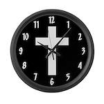 White Cross Large Wall Clock