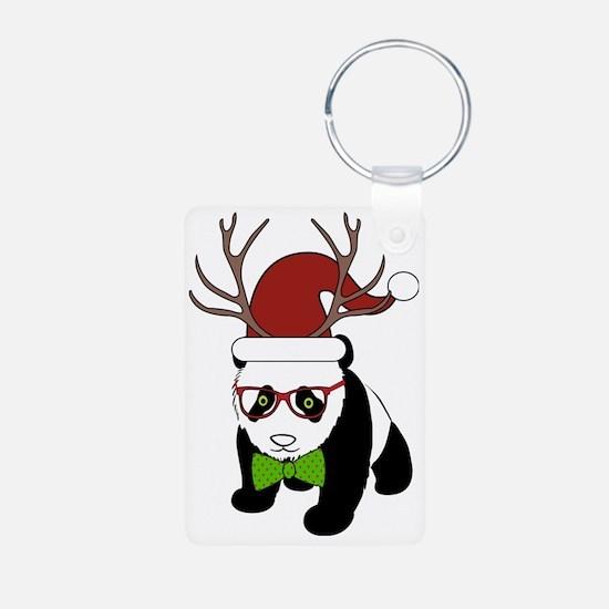 Hipster Christmas Panda Aluminum Photo Keychain