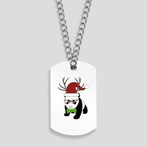 Hipster Christmas Panda Dog Tags