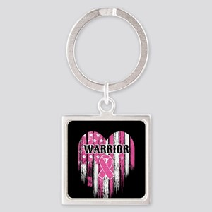 Breast Cancer Warrior Square Keychain