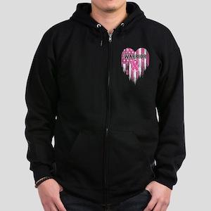 Breast Cancer Warrior Zip Hoodie (dark)