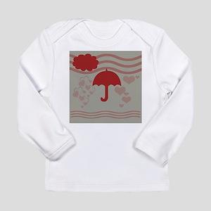 Red Umbrella Grey Hearts Princ Long Sleeve T-Shirt