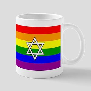 Rainbow Pride Flag With Jewish Star Mugs