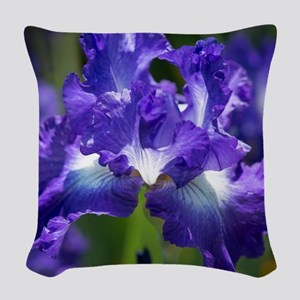 iris garden Woven Throw Pillow