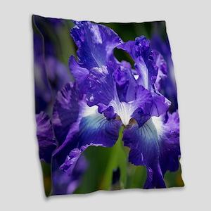 iris garden Burlap Throw Pillow