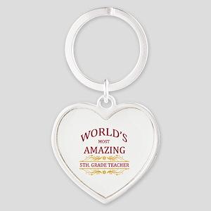 5th. Grade Teacher Heart Keychain