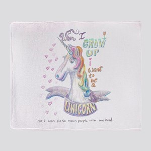 Unicorn when I Grow Up Throw Blanket