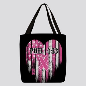 Breast Cancer Phil 4:13 Polyester Tote Bag