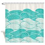 Ocean Waves Nautical Shower Curtain