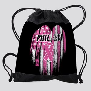 Breast Cancer Phil 4:13 Drawstring Bag