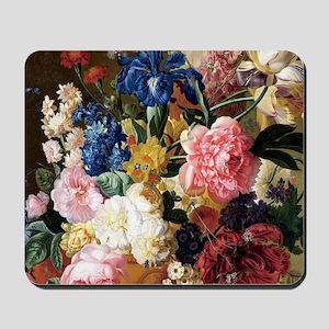 elegant vintage flowers nature floral ar Mousepad