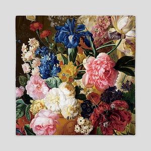 elegant vintage flowers nature floral  Queen Duvet