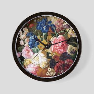 elegant vintage flowers nature floral a Wall Clock