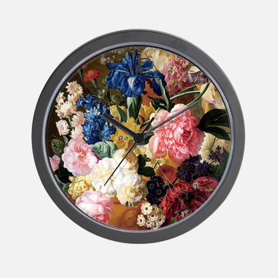 elegant vintage flowers nature floral a Wall Clock