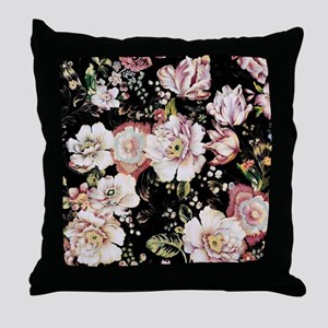 elegant vintage flowers nature floral Throw Pillow