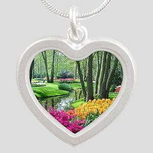 beautiful garden 2 Silver Heart Necklace