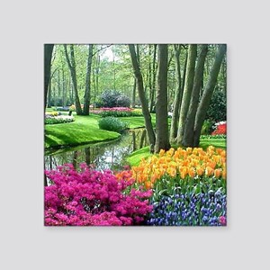 "beautiful garden 2 Square Sticker 3"" x 3"""