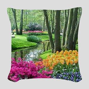 beautiful garden 2 Woven Throw Pillow