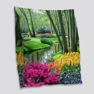 beautiful garden 2 Burlap Throw Pillow