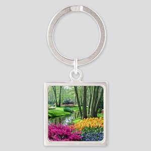 beautiful garden 2 Square Keychain
