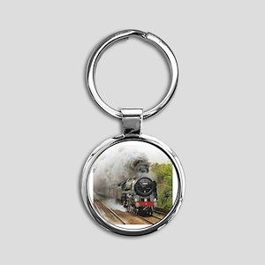 locomotive train engine 2 Round Keychain