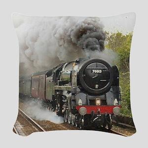 locomotive train engine 2 Woven Throw Pillow