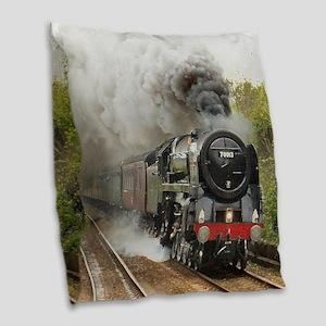 locomotive train engine 2 Burlap Throw Pillow