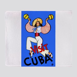 Antique 1930 Cuban Dancer Travel Poster Throw Blan