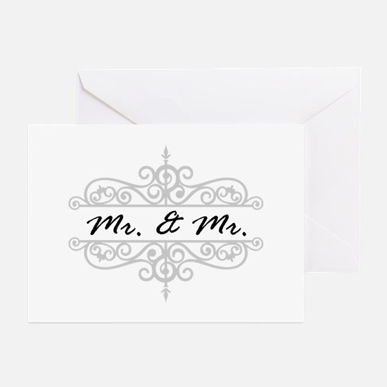 Mr. And Gay Wedding Scrolling Greeting Cards
