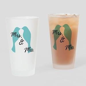 MRS. AND MRS. BLUE LOVE BIRD LESBIAN WEDDING CARD