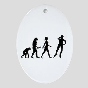 Inline Skating Evolution Ornament (Oval)