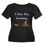 Dog Scootering Women's Plus Size Scoop Neck Dark T