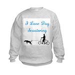 Dog Scootering Kids Sweatshirt
