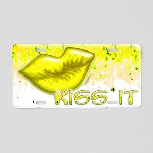 Yellow Kiss it lips Aluminum License Plate
