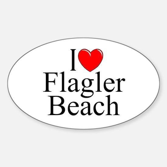 """""""I Love Flagler Beach"""" Oval Decal"""