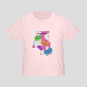 4th Birthday Butterflies Toddler T-Shirt