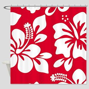 Red Hawaiian Hibiscus Shower Curtain