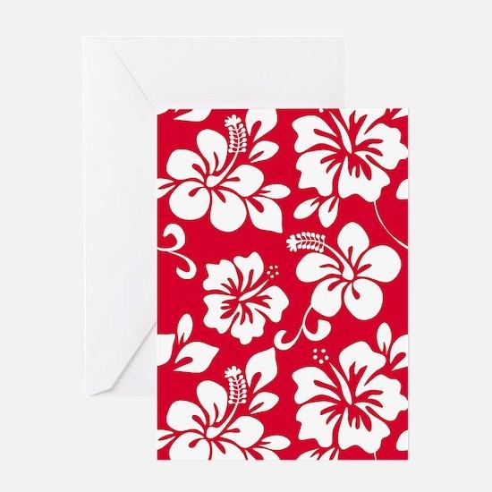Red Hawaiian Hibiscus Greeting Cards
