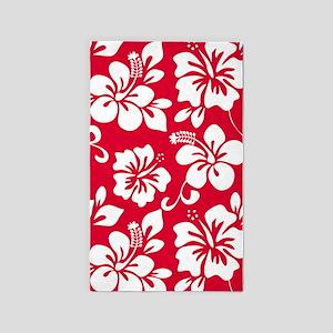 Red Hawaiian Hibiscus 3'x5' Area Rug