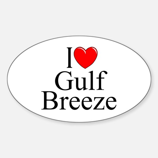 """I Love Gulf Breeze"" Oval Decal"