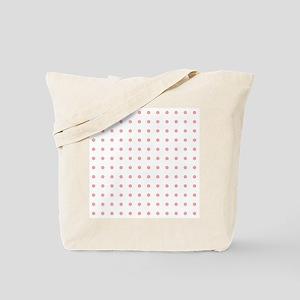 Coral Pink White Small Floral Polka Dots Tote Bag