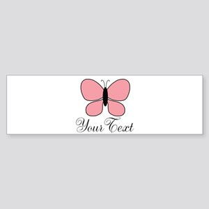 Pink Black Personalizable Butterfly Bumper Sticker