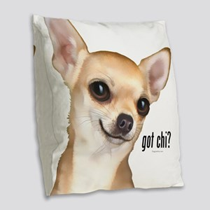 Got Chi? (fawn) Burlap Throw Pillow