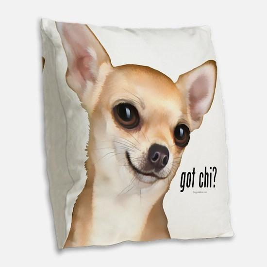 Got Chi? (fawn) Burlap Throw Pillow