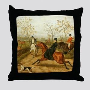 Riding Sidesaddle to the Hunt Throw Pillow