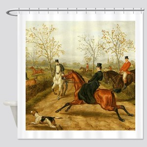 Riding Sidesaddle to the Hunt Shower Curtain