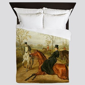 Riding Sidesaddle to the Hunt Queen Duvet