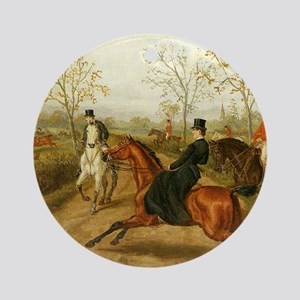 Riding Sidesaddle to the Hunt Ornament (Round)