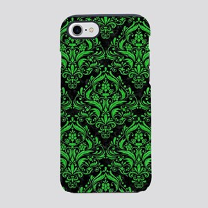 DAMASK1 BLACK MARBLE & GREEN C iPhone 7 Tough Case